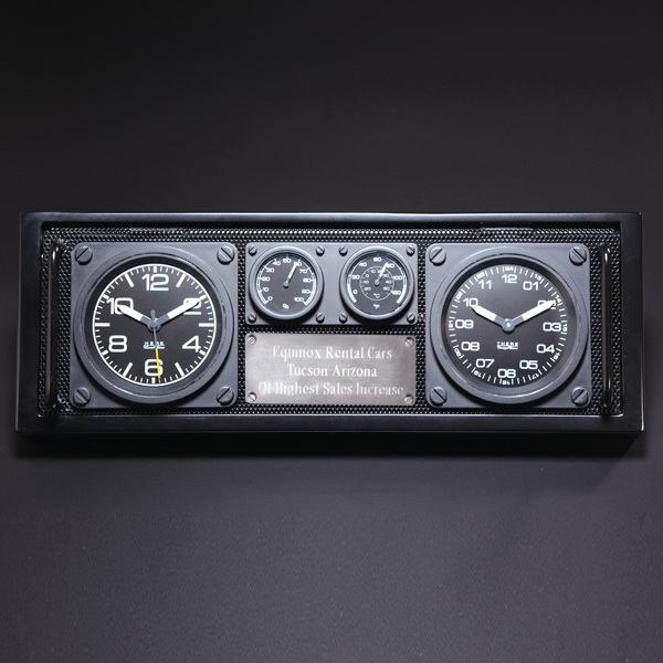 Customized Aviator Dual Time Zone Clock / Caddy