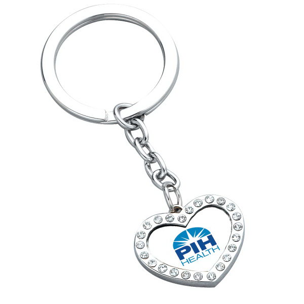 Custom Crystal Heart Key Ring