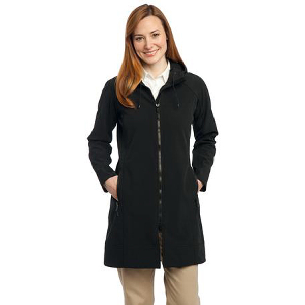 Printed Port Authority Ladies Long Textured Hooded Soft Shell Jacket