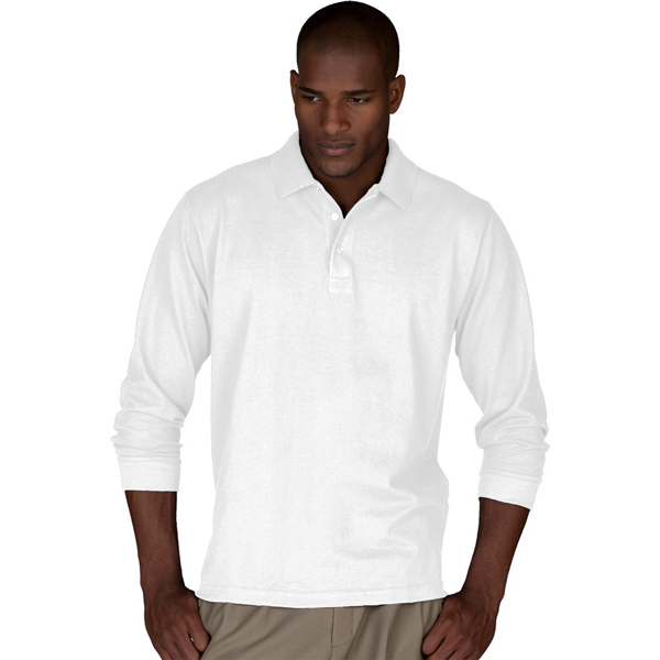 Printed Men's Long Sleeve Pique Polo, No Pocket