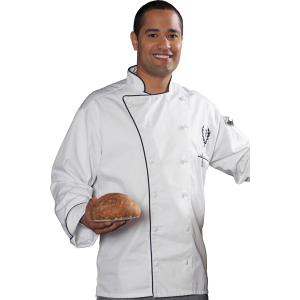 Promotional Executive 12 Cloth Button Chef Coat with Black Trim