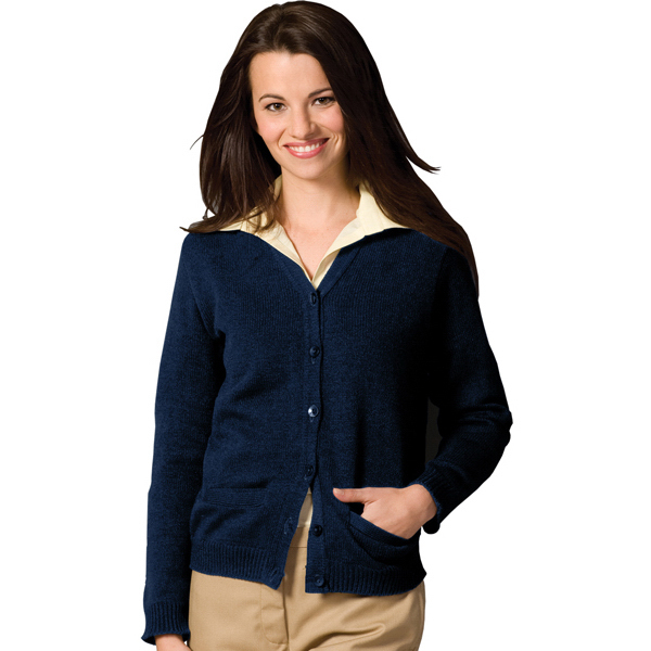 Custom Women's V-Neck Pocket Cardigan with Tuf-Pil (R) Plus