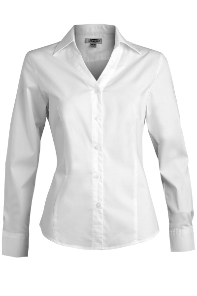 Customized Women's Long Sleeve V-Neck Tailored Stretch Blouse