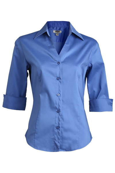 Customized V-Neck Tailored Stretch Broadcloth Blouse 3/4 Sleeve
