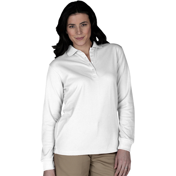Imprinted Women's Long Sleeve Pique Polo, No Pocket