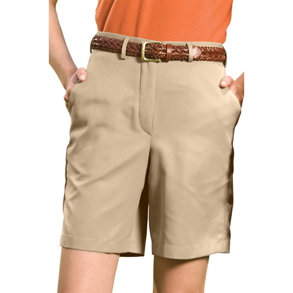 """Imprinted Woman's Microfiber Flat Front Shorts with 9""""/ 9.5"""" Inseam"""