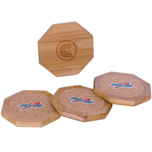 Customized Bamboo and Cork Coaster Set