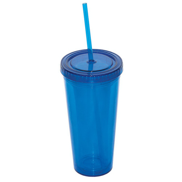 Imprinted 709 ml (24 oz) Double Walled Tumbler with Straw