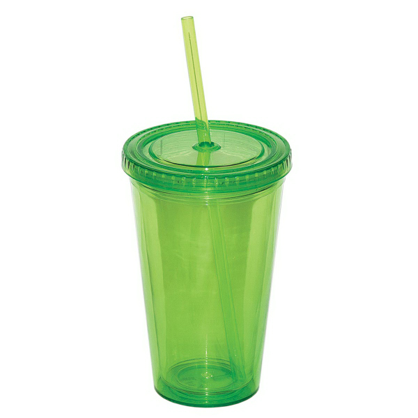 Printed 500ml (16 oz.) Double Walled Tumbler with Straw