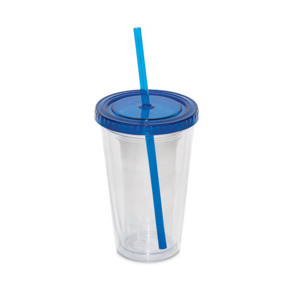 Customized 500 ml (16 oz) Double Walled Tumbler with Straw