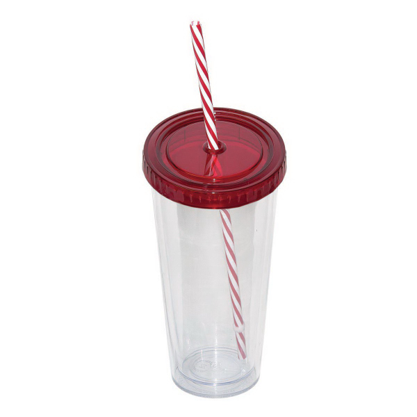 Promotional 709 ml (24 oz.) Double Walled Tumbler with Straw