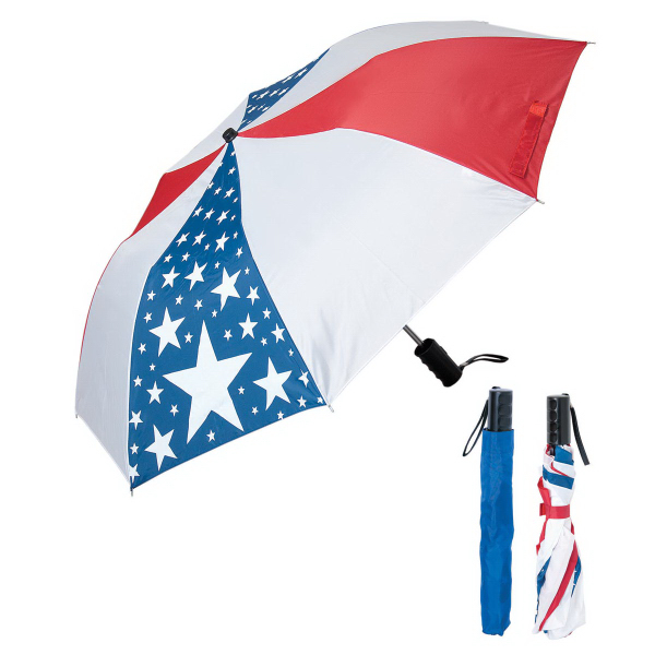 Printed Folding USA Umbrella