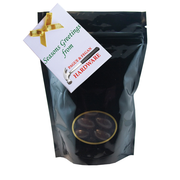 Imprinted Window Bag with Chocolate Almonds - Black - Nuts