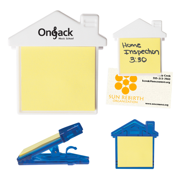 Imprinted House Clip With Self-Adhering Notes