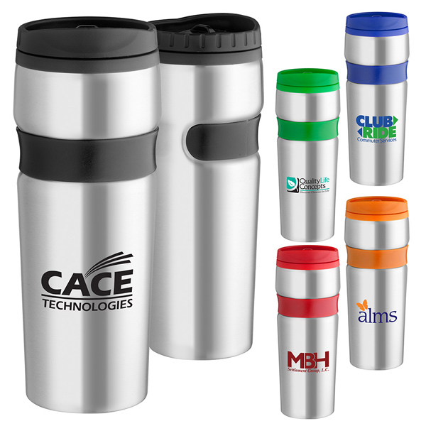 Customized 16 oz. Easy grip stainless travel tumbler