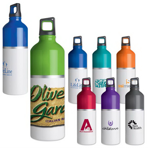 Imprinted 2-Tone color spot aluminum water bottle