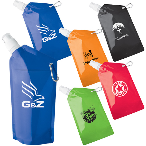 Promotional 20 oz. sip-n-store collapsible water bag