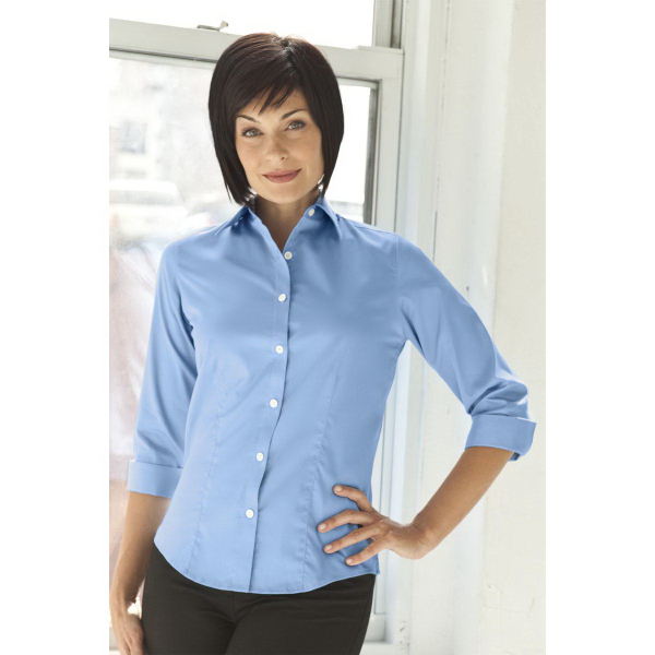 Promotional Women's Easy Care 3/4 Sleeve Solid Textured Shirt