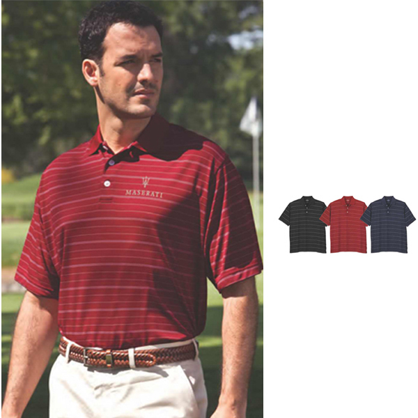 Promotional Vansport (TM) Two Color Textured Striped Polo