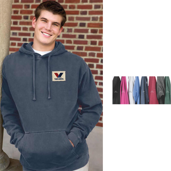 Imprinted Color Wash Fleece Pullover Hoodie