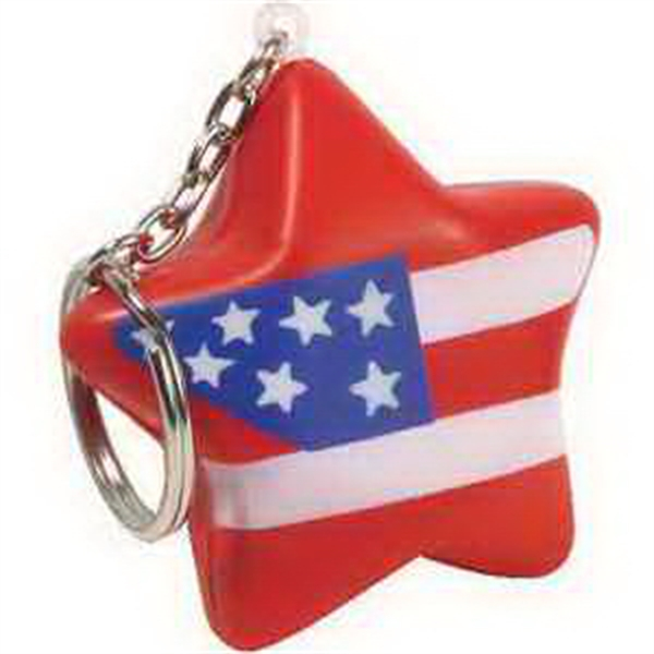 Imprinted Patriotic star key chain