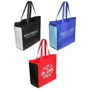 Imprinted Shop N' Zip foldable tote bag