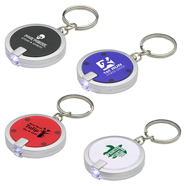 Promotional Round Simple Touch LED key chain
