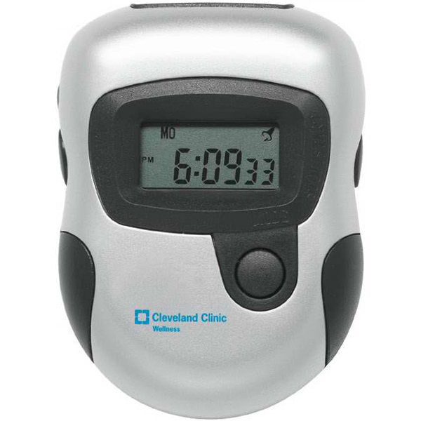 Imprinted Silver Digital Pedometer With Twin LCD Readout