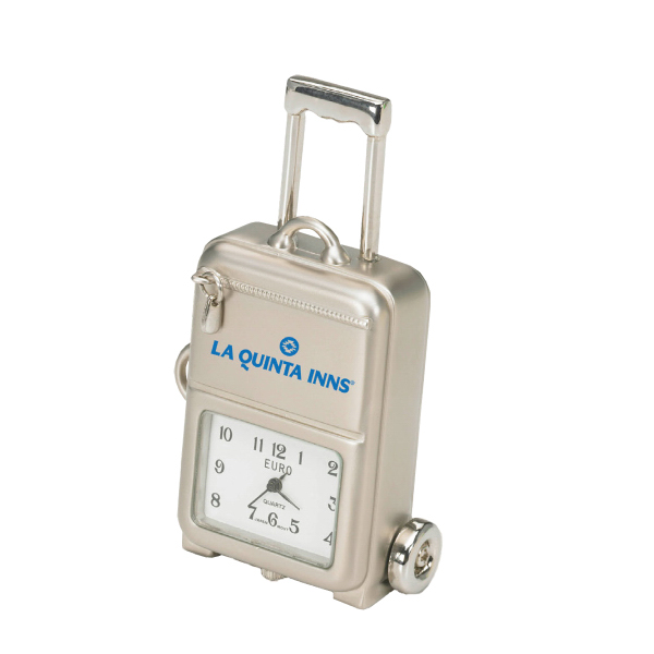 Imprinted Silver Die Cast Luggage Clock