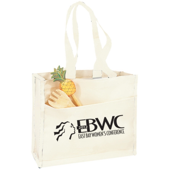 Printed Canvas Gusset Tote w/ Color Handles