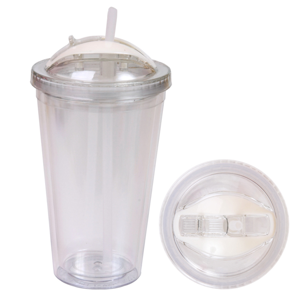 Imprinted 16 oz Double Wall Acrylic Tumbler with Dome Lid & Straw