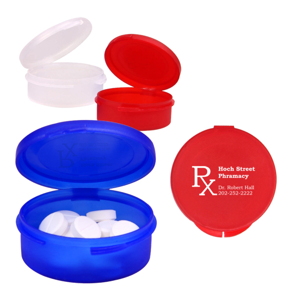 Printed Single Compartment Plastic Pill Case