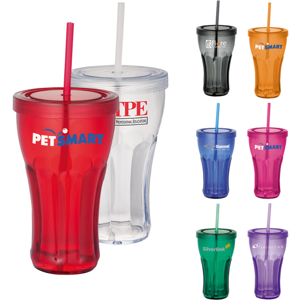 Promotional Fountain Soda Tumbler with Straw