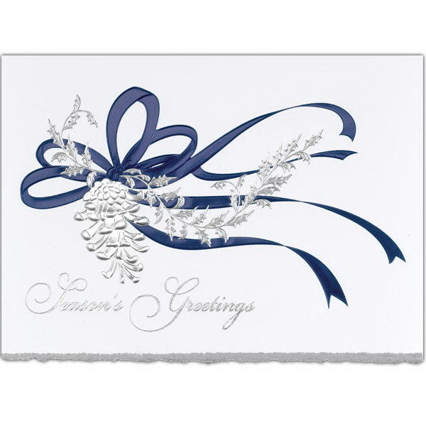 Imprinted Blue Ribbon Greeting Card