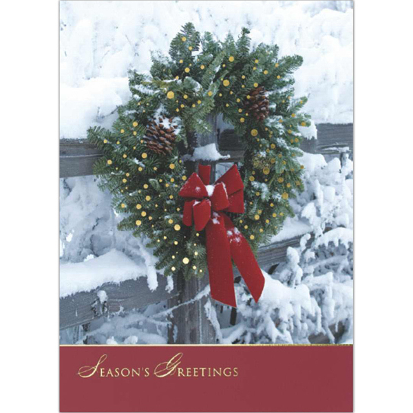 Printed Outdoor Wreath Greeting Card