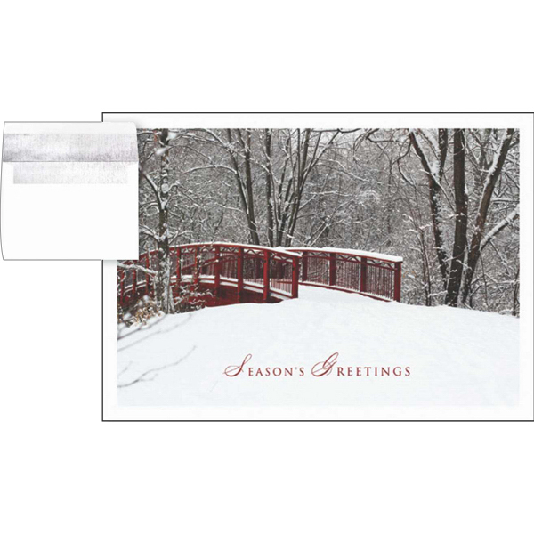 Custom Snowy Bridge Greeting Card