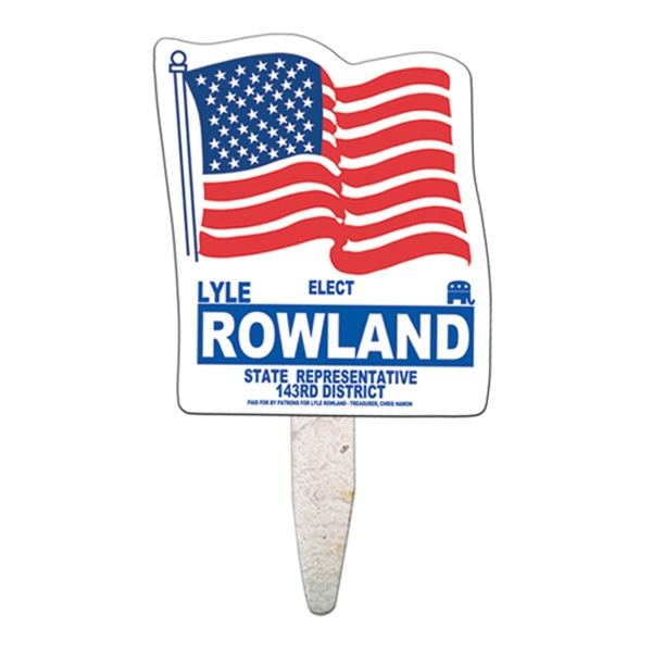 Imprinted Flag seed stick mini fan