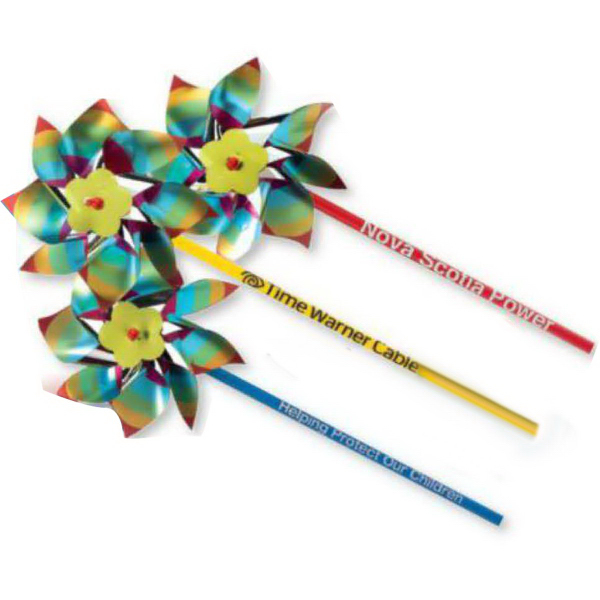 "Printed 4"" Metallic Rainbow Pinwheel (Imprinted)"