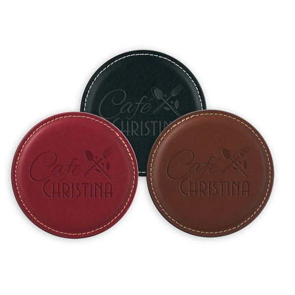 Custom Vintage Round Leather Coaster