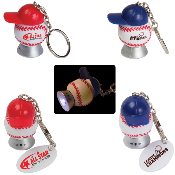 Custom Light Up Baseball and Baseball Hat Key Tag
