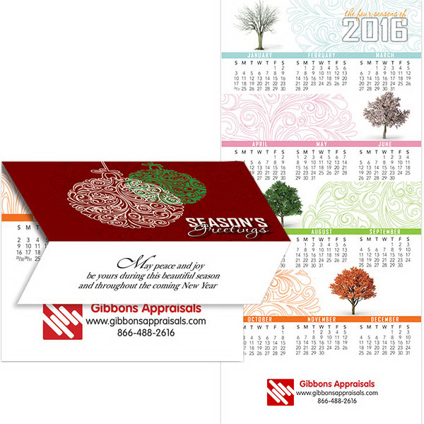 Imprinted 2-in-1 Holiday Season Greeting Card/Calendar