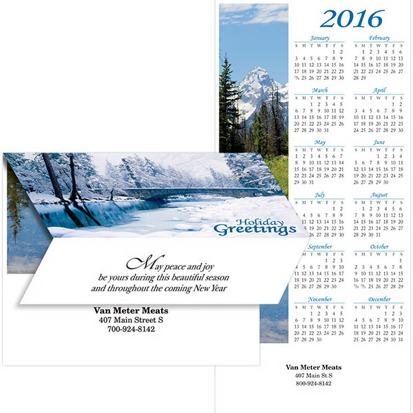 Imprinted 2-in-1 Scenic Views Calendar/Greeting Card