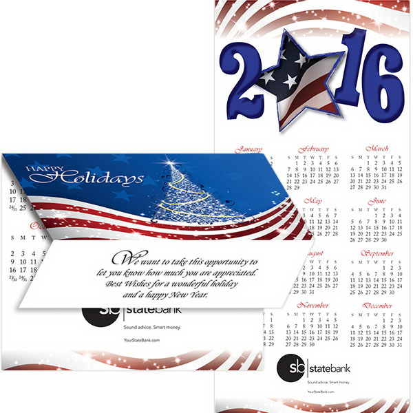 Custom 2-in-1 Patriotic Flag Greeting Card/Calendar