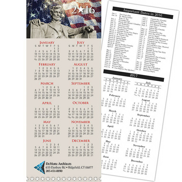 Customized Economy Collection Patriotic 2-Sided Vertical Calendar