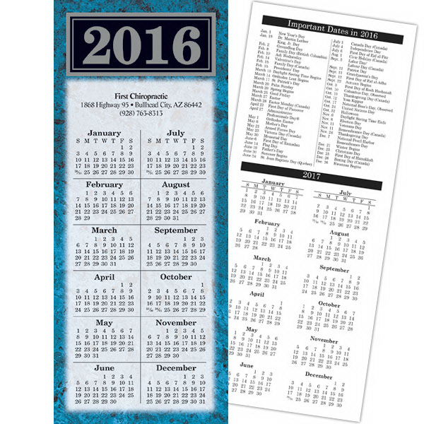 Promotional Economy Collection Marble 2-Sided Calendar