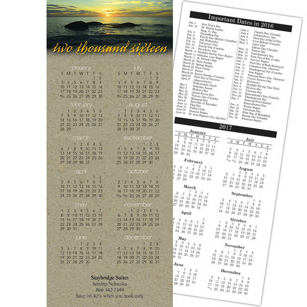 Printed Economy Collection 2-sided Sunset Calendar