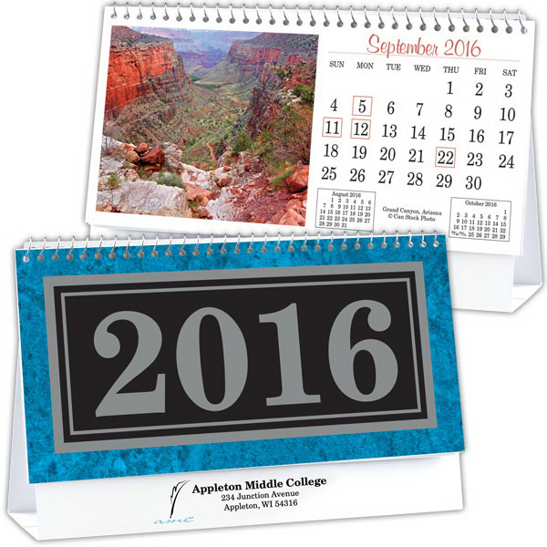 Imprinted Kingswood Collection Standard Desk Calendar