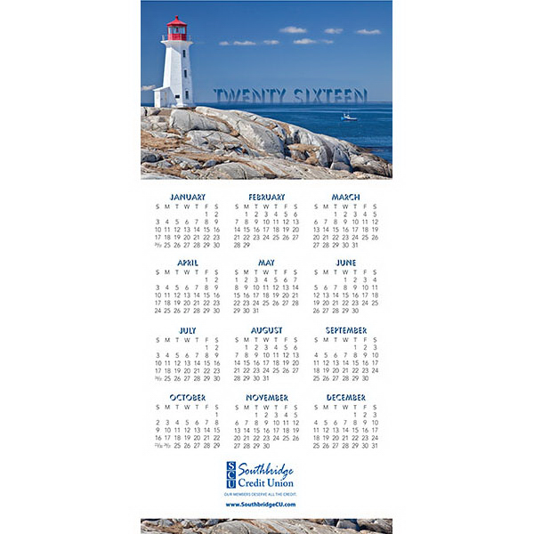 Imprinted Z-Fold Lighthouse Calendar