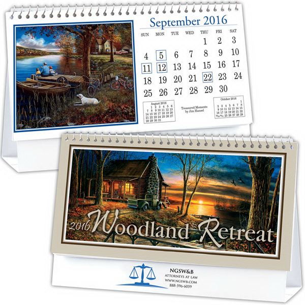 Personalized Kingswood Collection Woodland Retreats Desk Calendar