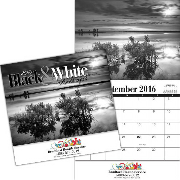 Printed Kingswood Collection Black and White Wall Calendar